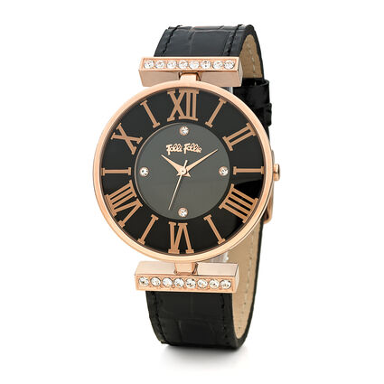 Dynasty Big Case Leather Watch, Black, hires