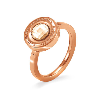 Logomania Rose Gold Plated Champaign Crystal Stone Ring, , hires