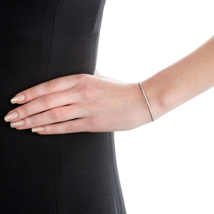 Fashionably Silver Essentials Rhodium Plated Ρυθμιζόμενο Βραχιόλι, , hires