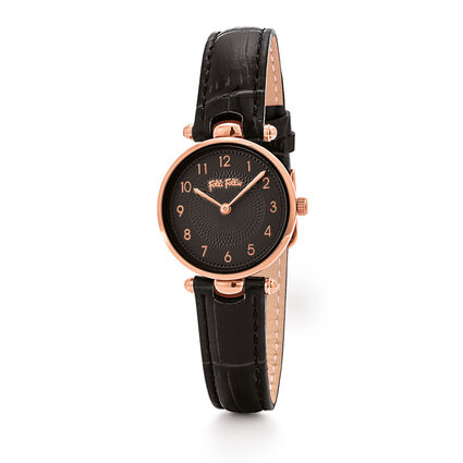 Lady Club Small Case Leather Watch, Black, hires