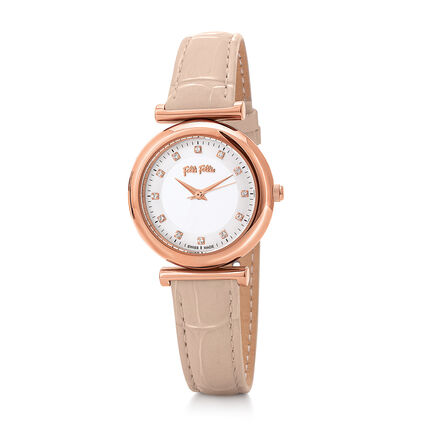 Sparkle Chic Small Case Leather Watch, Pink, hires