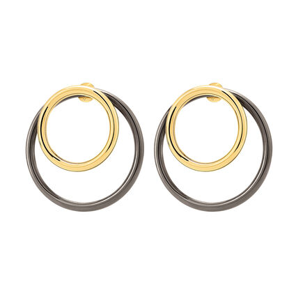 Metal Chic Gun And Yellow Gold Plated Double Earrings, , hires