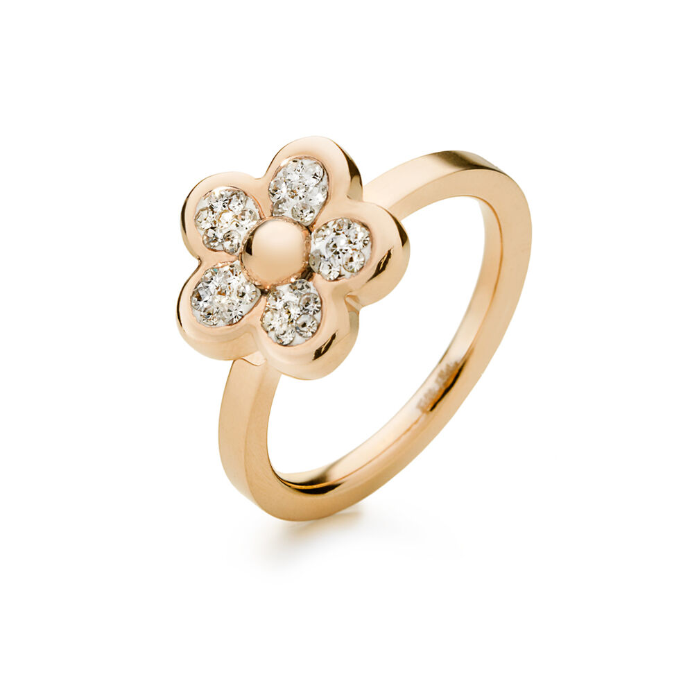Follie Di Fiori Rose Gold Pated Clear Crystal Stone Ring , , hires