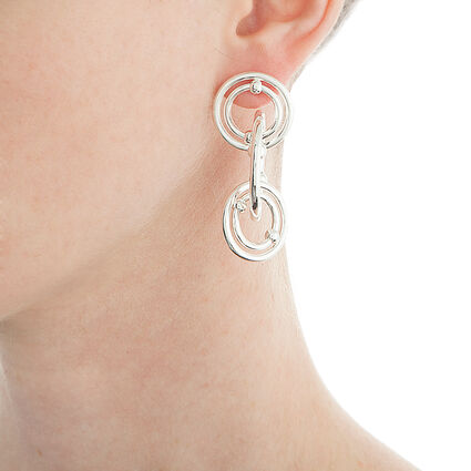 Bonds Silver Plated Long Earrings, , hires