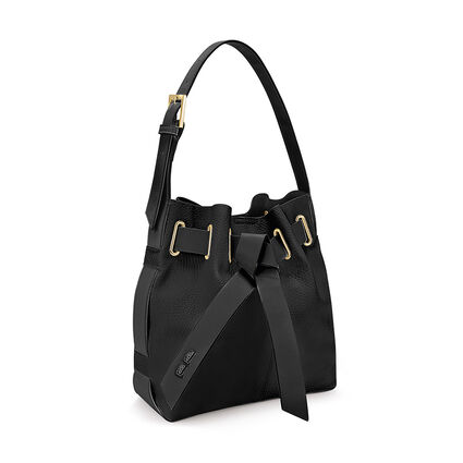 Tie The Knot Adjustable Strap Bucket Shoulder Bag, Black, hires