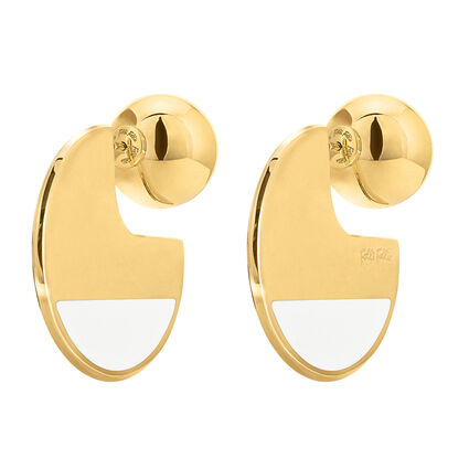Style Candies Yellow Gold Plated Άσπρο Σμάλτο Κοντά Σκουλαρίκια, , hires