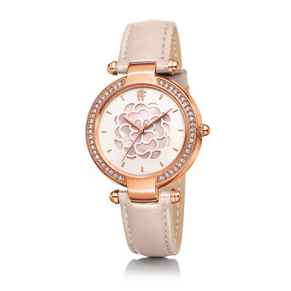 Santorini Flower Rose Gold Plated Watch, Pink, hires