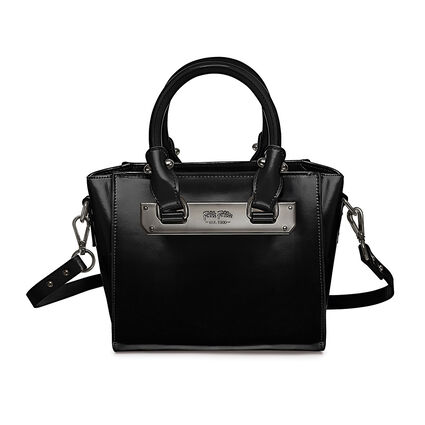 Style Code Mini Detachable Long Strap Leather Handbag, Black, hires