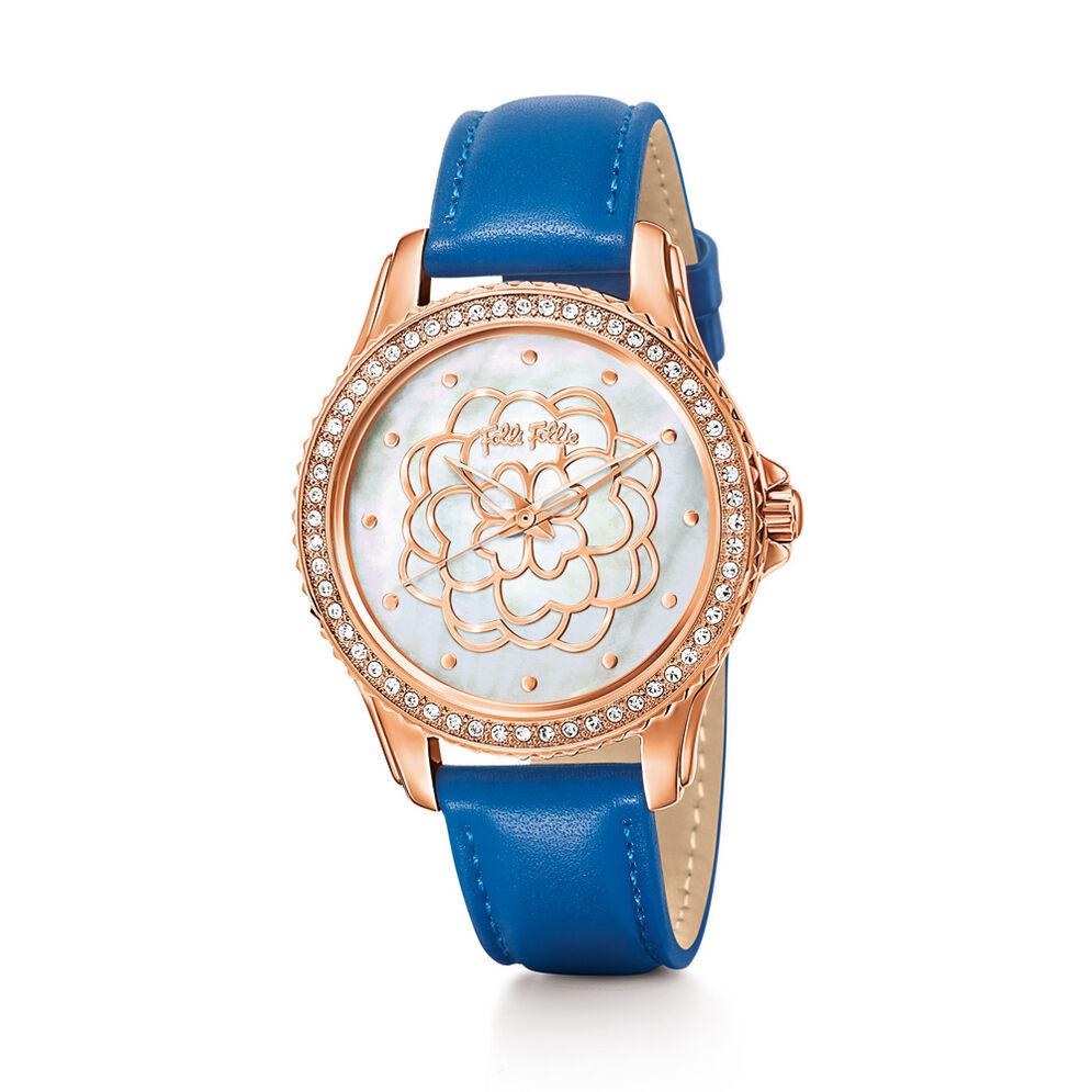 Santorini Flower Δερμάτινο Ρολόι, Blue, hires