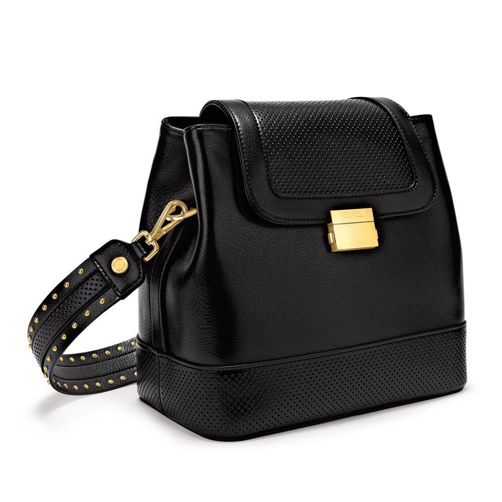 On The Dot Leather Backpack Shoulder Bag, Black, hires