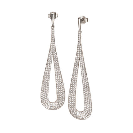 Fashionably Silver Temptation Rhodium Plated Μακριά Σκουλαρίκια, , hires
