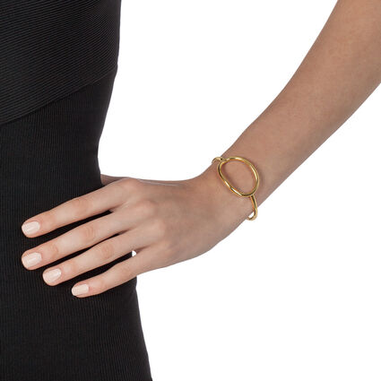 Metal Chic Yellow Gold Plated Cuff Bracelet, , hires