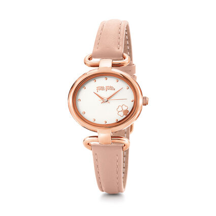 Miss Heart4Heart Extra Small Case Leather Watch , Pink, hires