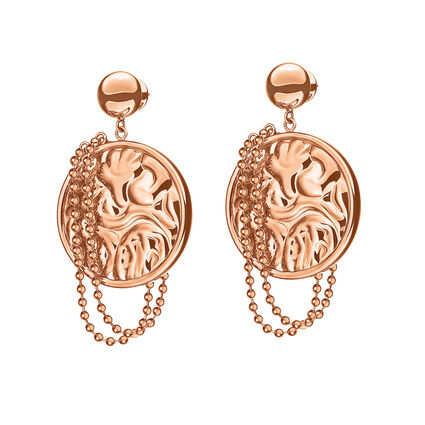 Coin Vintage Rose Gold Plated Earrings, , hires