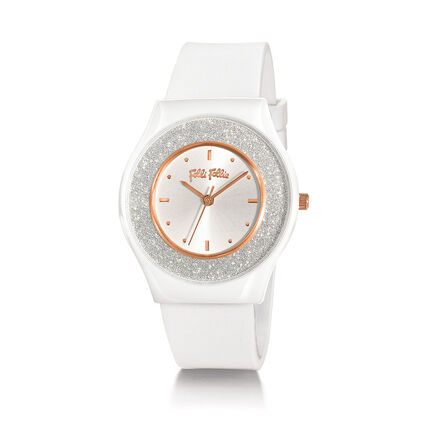 Sparkling Sand Ceramic Case Rubber Watch, White, hires