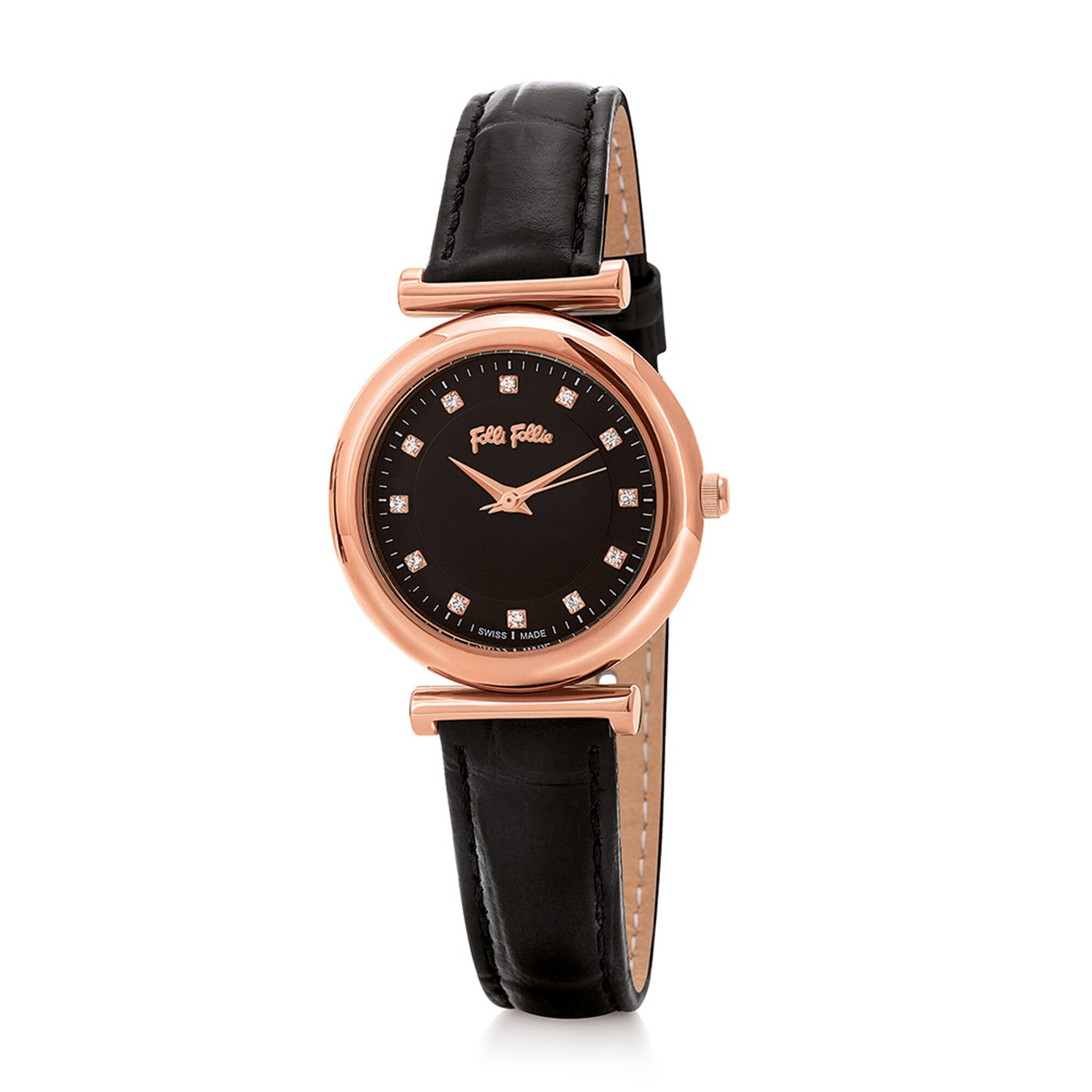 Folli Follie Sparkle Chic Small Case Leather Watch ColorBK