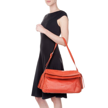 Twist Together Leather Shoulder Bag, Orange, hires
