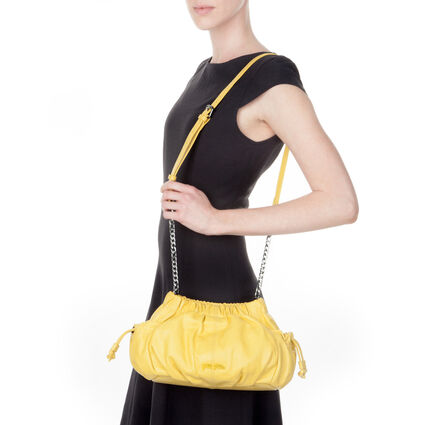 Buggy Leather Crossbody Bag, Yellow, hires
