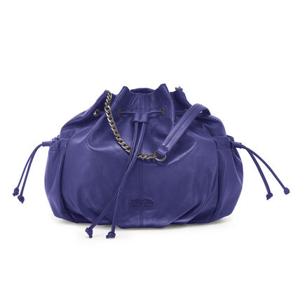 Buggy Large Leather Bucket Shoulder Bag, Purple, hires