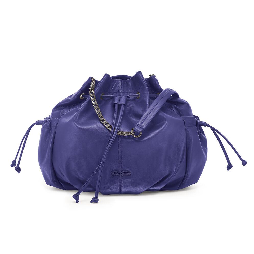 Buggy Large Leather Bucket Shoulder Bag, Purple, hires