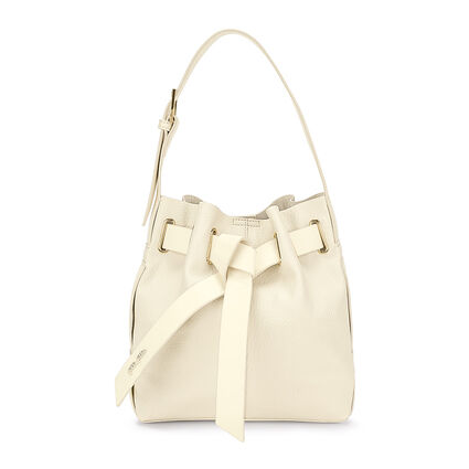 Tie The Knot Adjustable Strap Bucket Shoulder Bag, Beige, hires
