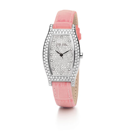 Debutant Deluxe Leather Watch, Pink, hires