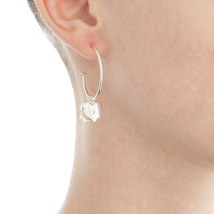 Heart4Heart Sweetheart Silver Plated Hoop Earrings, , hires