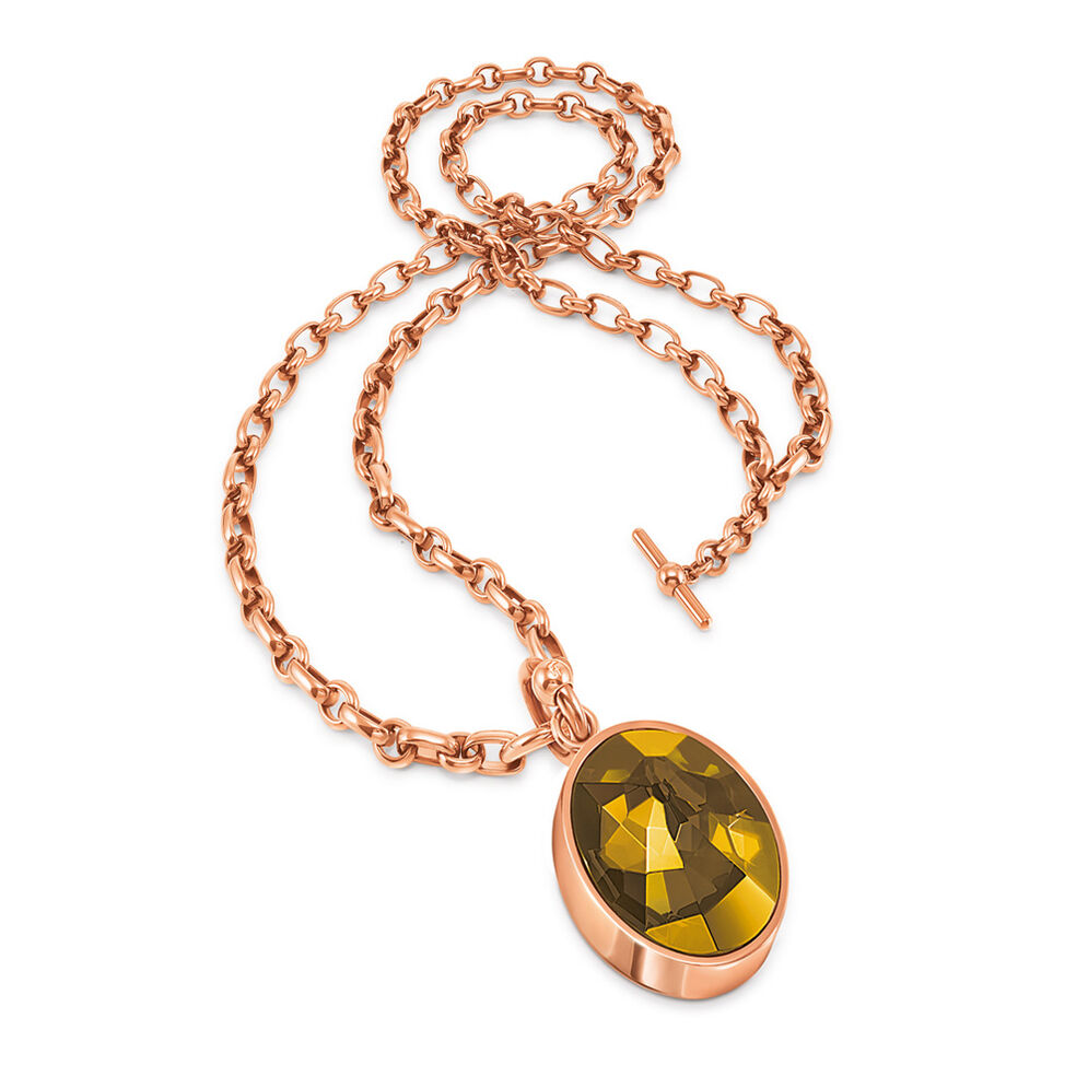 Chain Addiction Rose Gold Plated Smoky Topaz Oval Shaped Crystal Stone Two Ways Worn Long Necklace, , hires