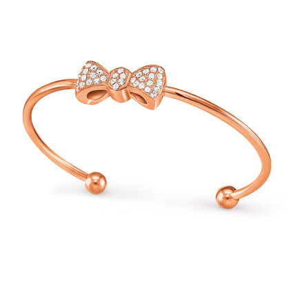 Bow Rose Gold Plated Stone Cuff Bracelet , , hires