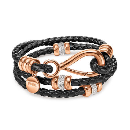 Synthesis Rose Gold Plated Μαύρο Βραχιόλι, , hires
