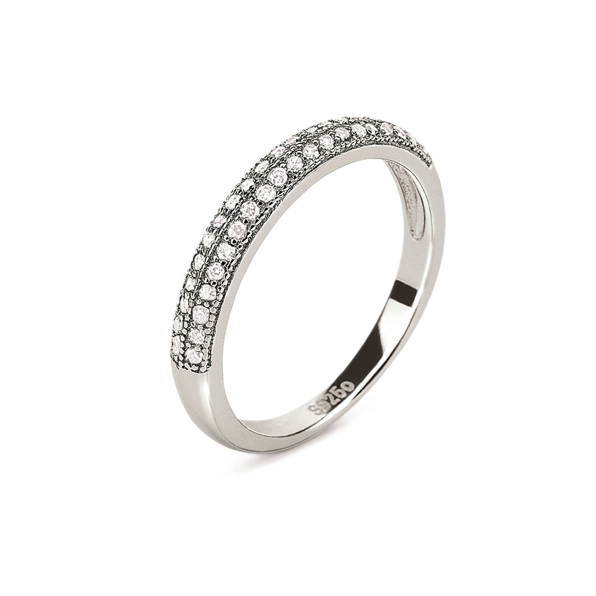 ring hires en band plated essentials row fashionably rhodium rings silver engagement cm two
