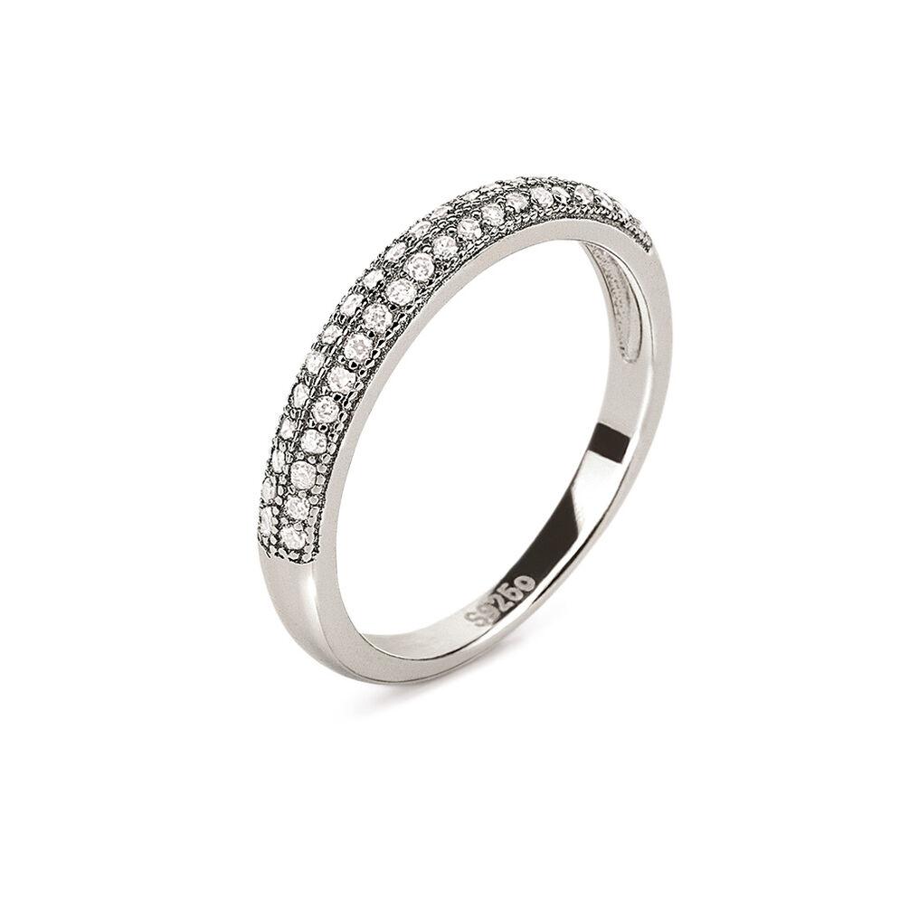 fashionably silver essentials rhodium plated two row band