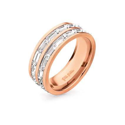 Classy Rose Gold Plated Square Crystal Stone Wide Band Ring, , hires