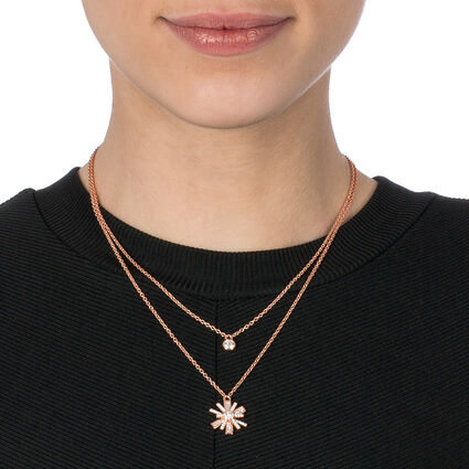 Star Flower 18kt Rose Gold Vermeil Small Motif Short Necklace, , hires