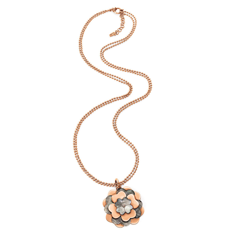Santorini Flower Rose Gold Plated Gray Mother Of Pearl Details Long Necklace, , hires