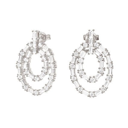 Fashionably Silver Essentials Rhodium Plated Short Earrings, , hires