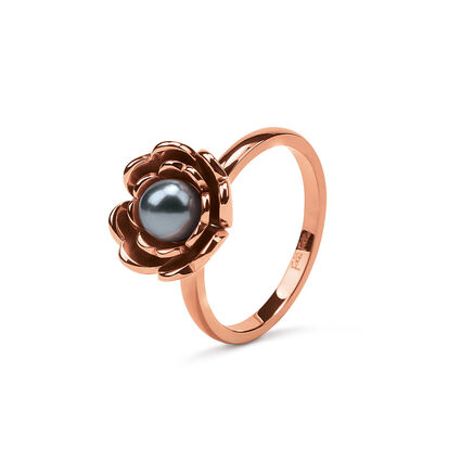 Grace Flair Rose Gold Plated Small Pearl Ring, , hires