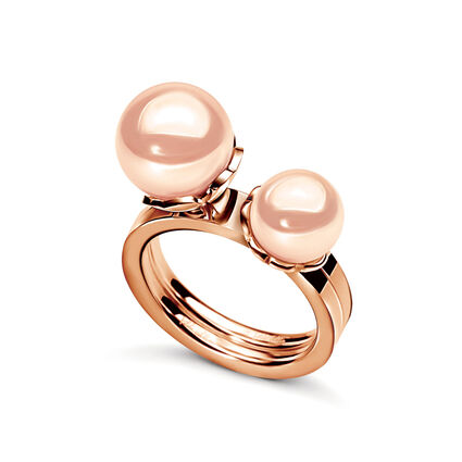 Grace Two Pieces Rose Gold Plated Light Pink Pearl Ring, , hires