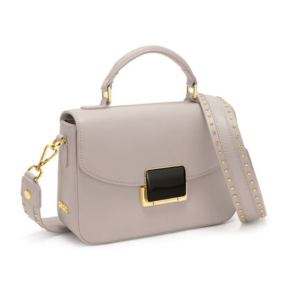 Lady Riviera Medium Leather Handbag , Gray, hires