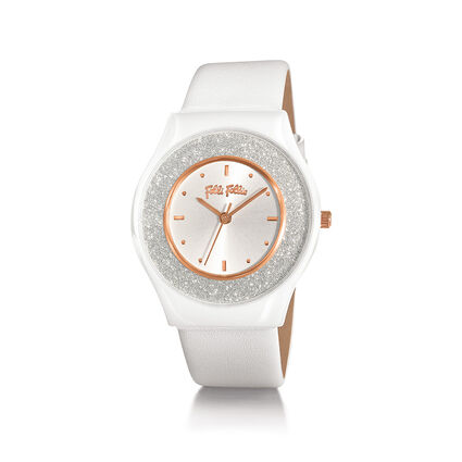 Sparkling Sand Ceramic Watch, White, hires