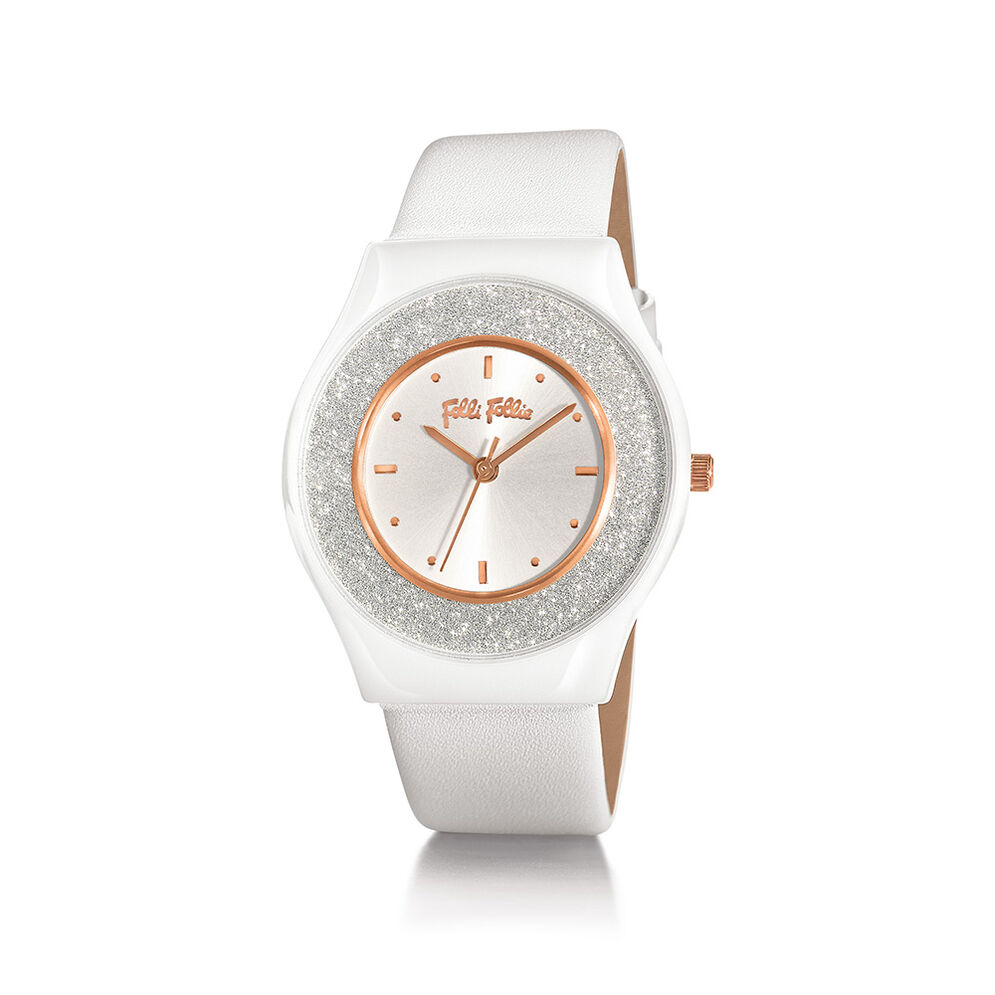 Sparkling Sand Big Ceramic Case Leather Strap Watch, White, hires
