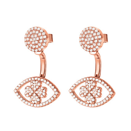 Heart4Heart Mati 18kt Rose Gold Vermeil Short Earrings , , hires