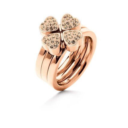 Heart4Heart Rose Gold Plated Σετ Τριών Δαχτυλιδιών Pave Champagne Κρυστάλλινες Πέτρες, , hires
