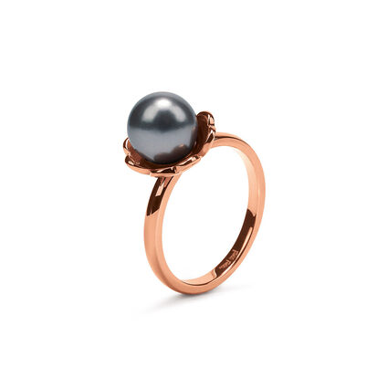 Grace Flair Rose Gold Plated Small Dark Gray Pearl Ring, , hires