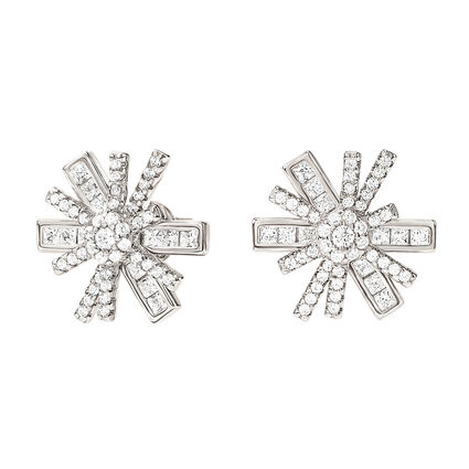 Star Flower Rhodium Plated Stud Earrings, , hires