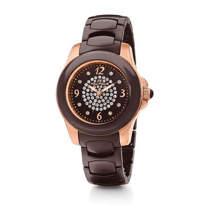 Crystal Time Watch, Bracelet Brown, hires