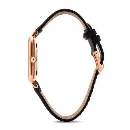 Timeless Bonds Medium Square Case Leather Watch , Black, hires