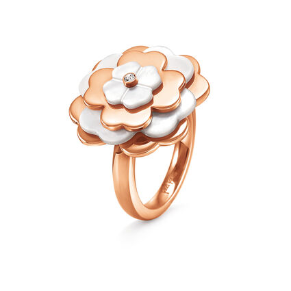 Santorini Flower Rose Gold Plated Mother Of Pearl Large Motif Ring, , hires
