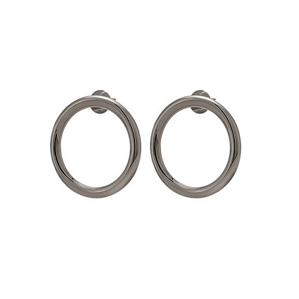 Metal Chic Silver and Gun Plated Double Earrings, , hires