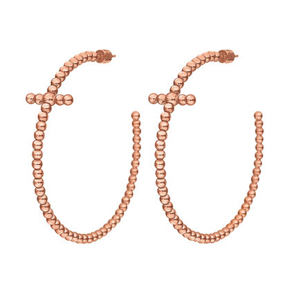 Carma Beads Rose Gold Plated Hoop Earrings, , hires